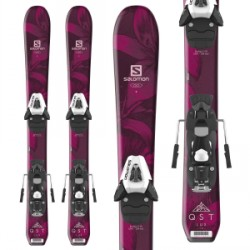 Kid's Salomon QST Lux Jr Skis XS C5 SR Bindings Little Girls 2019 in Red