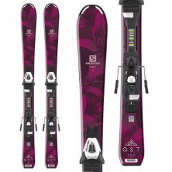 Kid's Salomon QST Lux Jr S Skis C5 Bindings Little Girls 2019 in Red